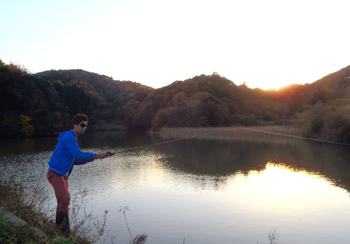 Taka am Teich in Japan